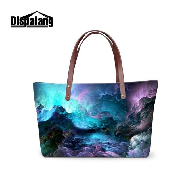a3c8ea3e3295f Büyük omuz çantası Genç Kızlar için Moda Üst Kadınlar için El Çantaları  Peyzaj Galaxy plaj çantası