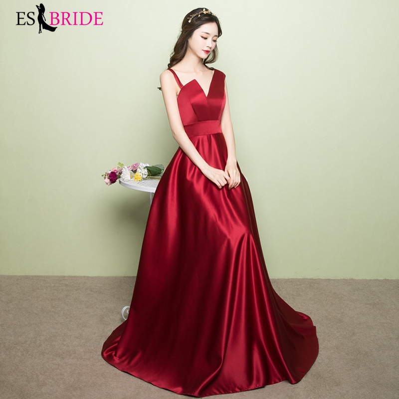 Red   Evening     Dresses   New Arrival Sleeveless Sexy Backless Formal Party Gowns for Women Elegant Vestido Longo Com Manga ES1368