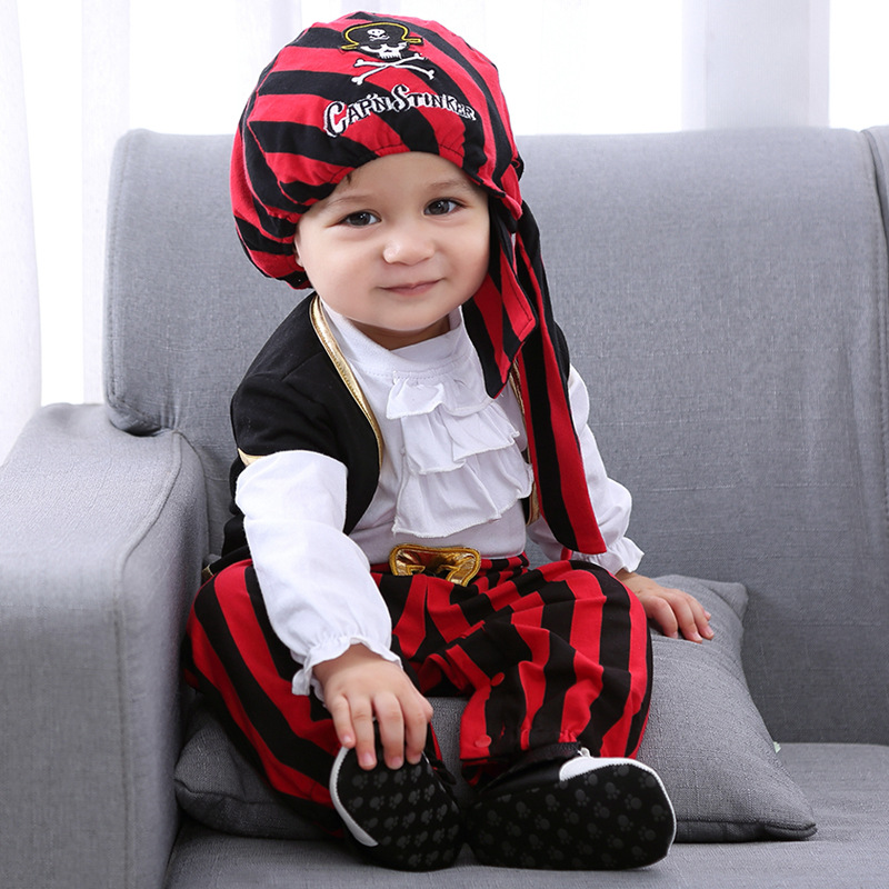 Infant Pirate Costumes 3Pcs Baby Climbing Suit Autumn Winter Christmas Halloween Carnival Cosplay Costume Baby Onesies Jumsuit