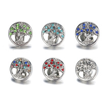 10pcs/lot Tree of Life Snap Button Jewelry Mixed Colors Metal 12mm Buttons fit Bracelet Bangles women 011615