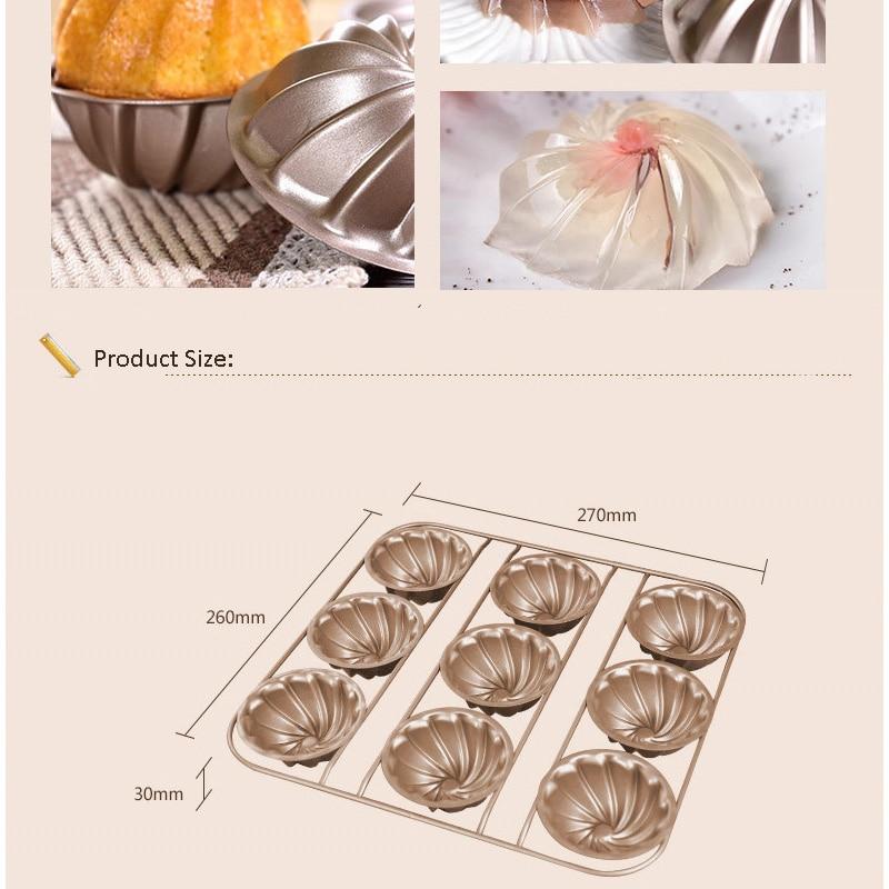 9 gota Tart Pan Metal Nonstick Lule Muffin Shporta Mishi i Kupës së - Kuzhinë, ngrënie dhe bar - Foto 6