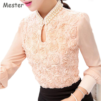 Women Spring Vivid Rose Chiffon Blouse Beaded Collar Long Sleeve Patchwork Lace Tops Elegant Ladies Office