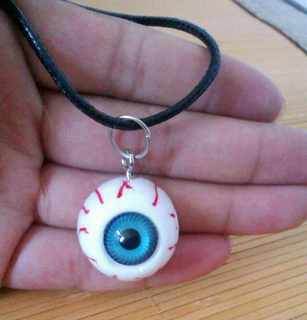 Harajuku bloodshot eyeball pendant necklace hallowmas gifts green harajuku bloodshot eyeball pendant necklace hallowmas gifts green blue eye trendy youth punk jewelry black cord aloadofball Choice Image