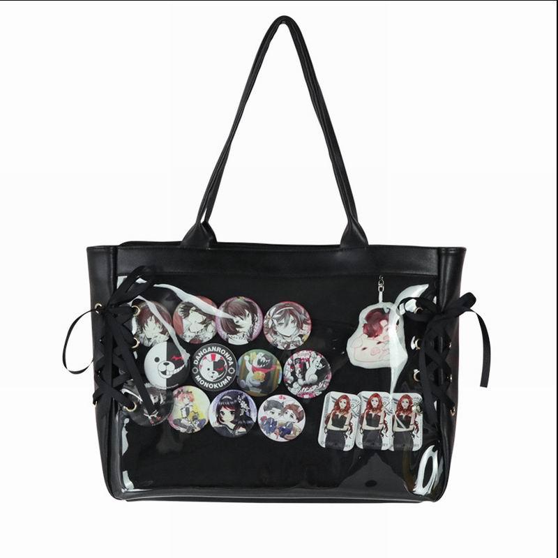 Image 4 - Japanese Sweet Lolita Harajuku Transparent Itabag JK Ita bag Cosplay Girl Shoulder bag Preppy Style Kawaii Mori Girls Travel Bag-in Shoulder Bags from Luggage & Bags
