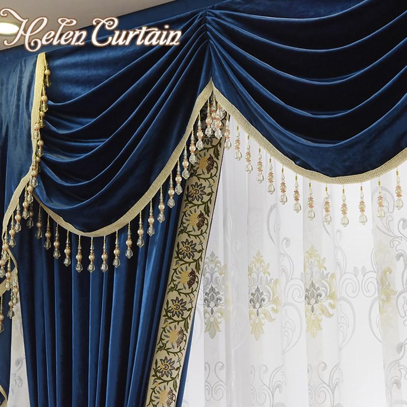 Very best Helen Curtain Set Luxury Velvet Royalblue Curtains For Living Room  NJ22