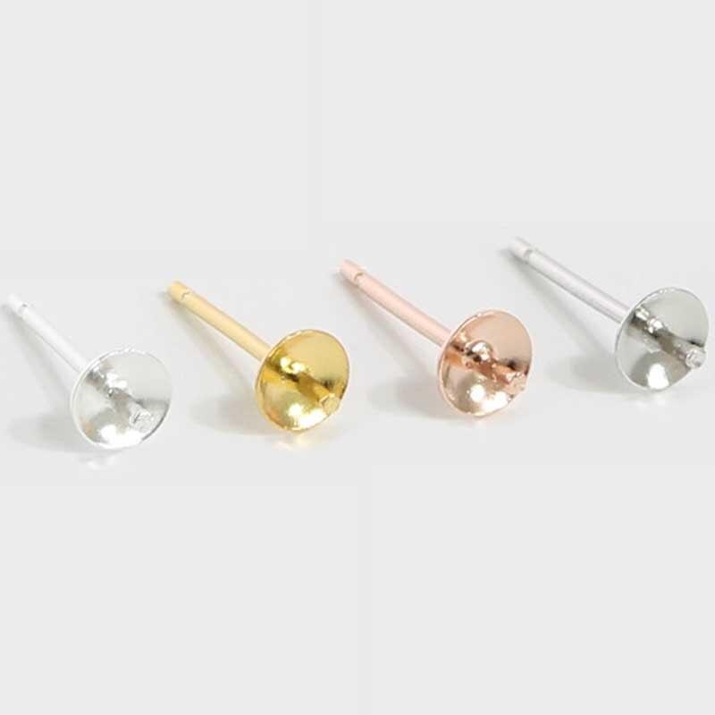 BULK BUY DISCOUNT Sterling Silver 925 4mm Pearl Earstud Posts Jewellery Making