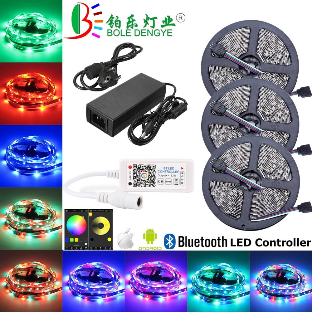 BOLEDENGYE 5050 Bluetooth LED Strip Light 5M 10M 15M 12V 30 leds/m Flexible Tape Ribbon+Bluetooth Controller+12V 2A 5A 6A Power