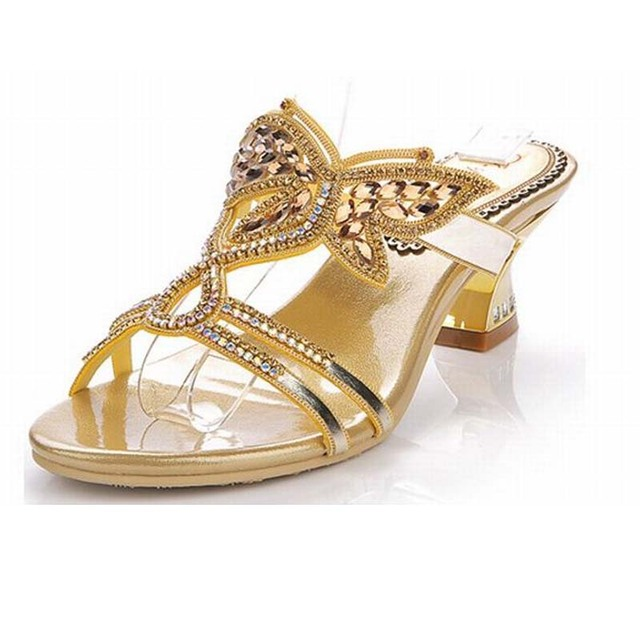 7be781728 2018 hot sale brand gold butterfly rhinestone women sandals comfortable high  heels slippers bling bling summer beach shoes pumps