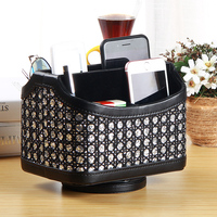 Leather 360 Degree Rotating Makeup Storage Box Remote Controller Holder Organizer TV Guide Mail Media Desktop