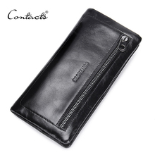 CONTACT'S Genuine Leather Classical Vintage Style Men Wallets Fashion Brand Purse Card Holder Wallet Man For Long Design Wallets