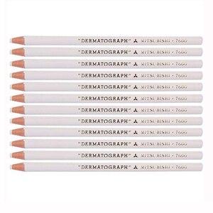 Image 4 - 12 teile/schachtel Japan Weiß Schwarz Dermograph Mitsubishi 7600 UNI Weiche Farbige Bleistifte für Tattoo Augenbraue Marker Farbe Bleistift