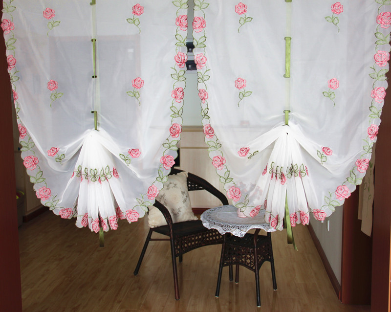 Tende Per Finestra Piccola : ᐊfiore di rosa ricamato tenda palloncino per finestra pura filato