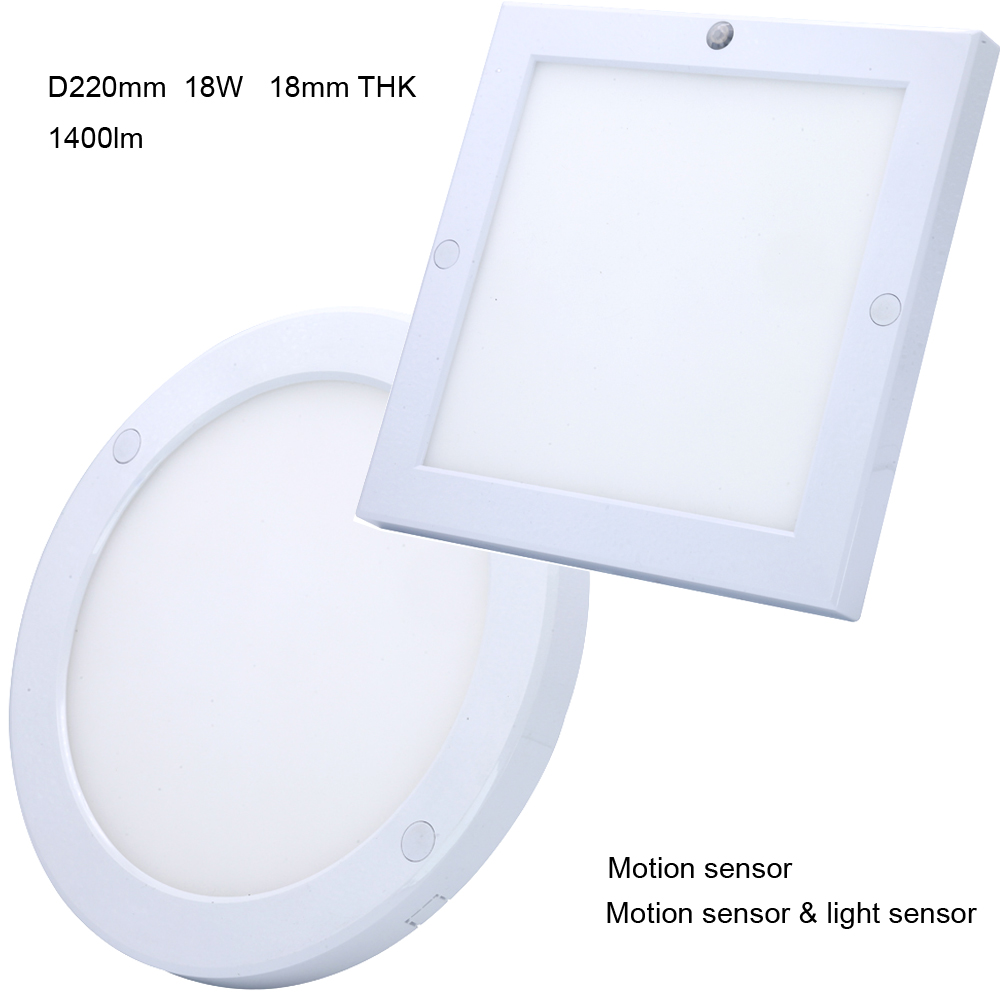 200 240v 18w motion sensor light sensor ceiling led slim round panel 220x220mm square surface. Black Bedroom Furniture Sets. Home Design Ideas
