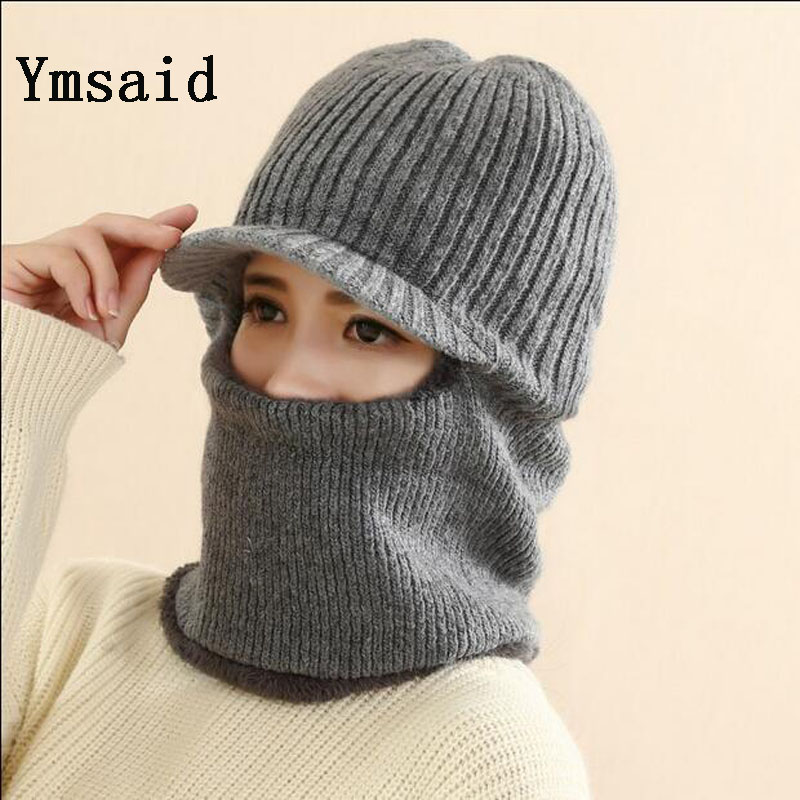 Ymsaid Latest Hot Selling Multi Functional Knit Cap Balaclava Mask Winter Wool Hats Adult Men And Women Neck Warmer Thick It Tak mulinsen latest lifestyle 2017 autumn winter men