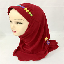 (12pieces)2017 New Muslim Flower Hijab Hats Kids Girls Crystal Hemp Scarf Caps Arab Under Scarf Headwear