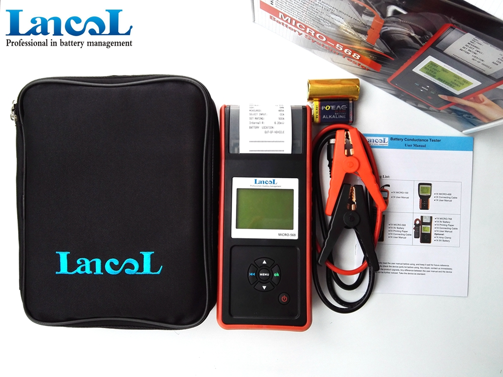 цена на Lancol MICRO-568 12V Car Battery Load Tester With Printer Digital Automotive Battery Tester SOC SOH CCA IR CCA100-2000