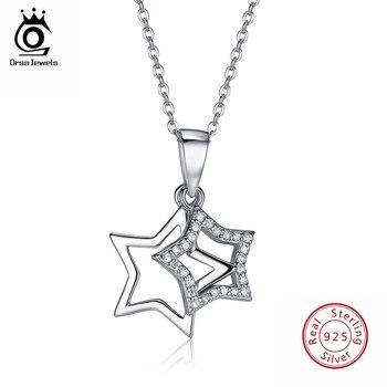 9b884d324f1b ORSA JEWELS 100% Real 925 plata esterlina colgantes y collares brillante  AAA Cubic Zircon en forma de las mujeres joyería fina SN82