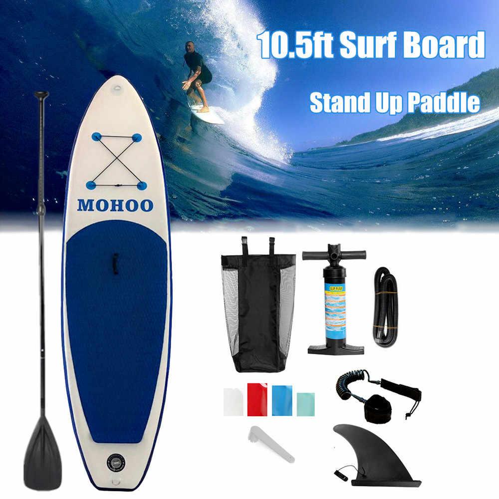 290X80X10 Cm Tiup Papan Selancar Surfing Papan Olahraga Air Papan Sup dengan Paddle Pompa Kaki tali Pengaman Alat Kit