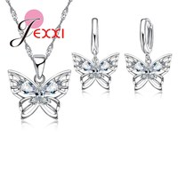 JEXXI Top Quality Elegant Luxury Butterfly New Fashion 925 Sterling Silver Women/Girl Necklaces Earrings Jewelry Set Wholesale