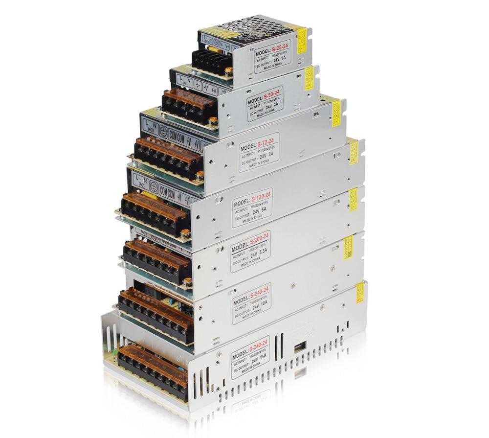 24V Switching Power Supply LED Strip Light Lighting Transformer 1A 2A 3A 5A 10A 15A Power Adapter 110/220V input 24v 15a switching monitor power supply adapter