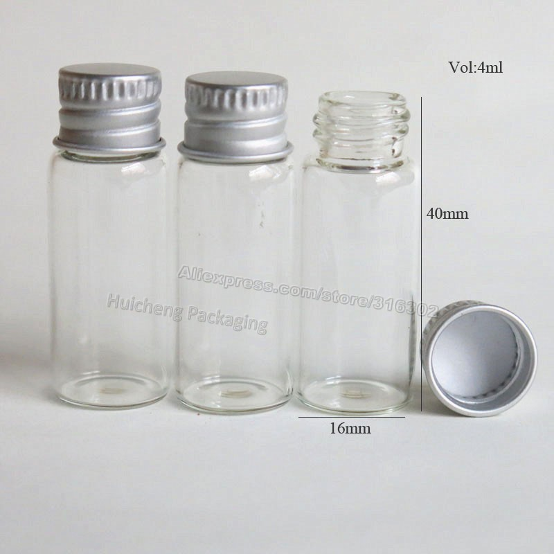500Lot 4ml Clear Glass Container With Aluminum Cap Small Glass