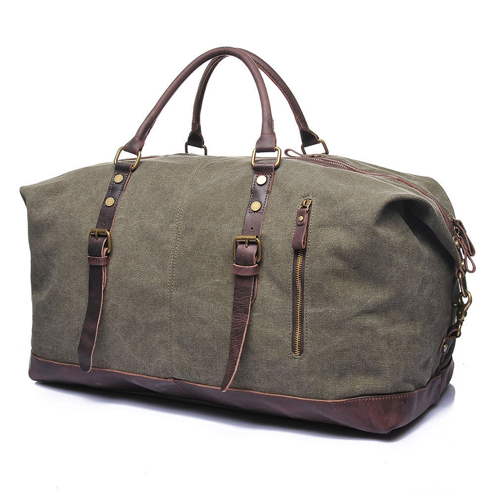 "Vintage Canvas Lightweight Luggage 22"" Large Men's Leather ..."