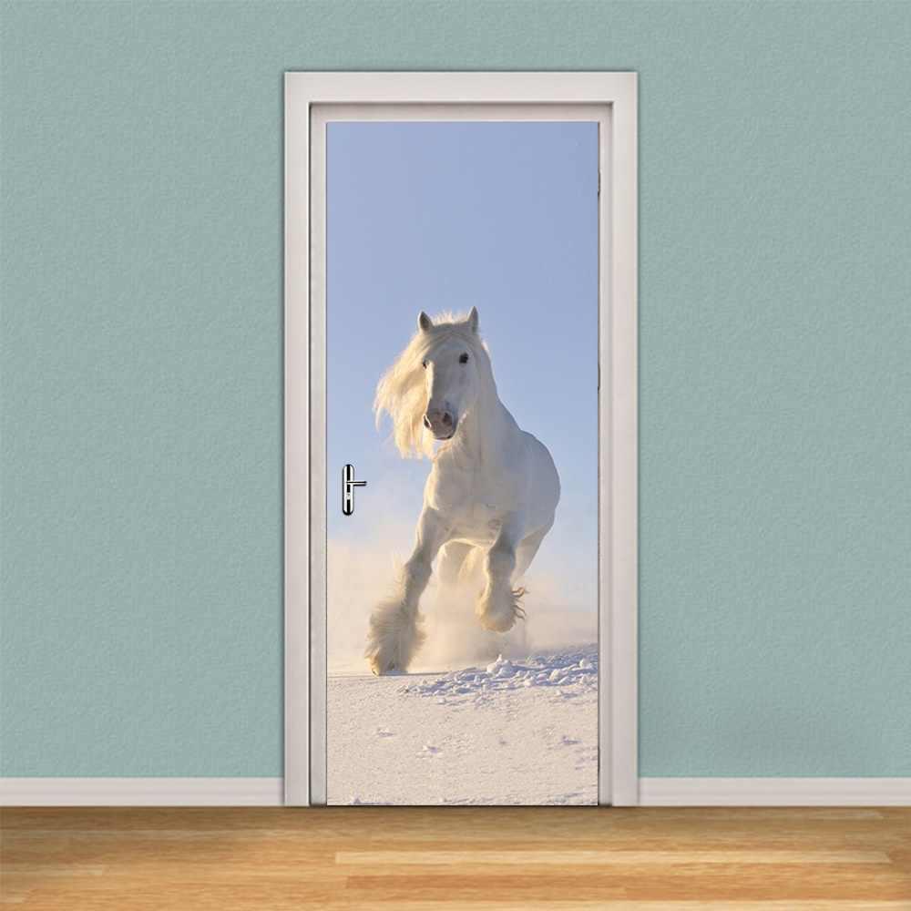 3d diy الراكض الحصان الباب جدار ملصقا diy جدارية نوم ديكور المنزل ملصق الباب البلاستيكية للماء ملصقا صائق 77*200 سنتيمتر