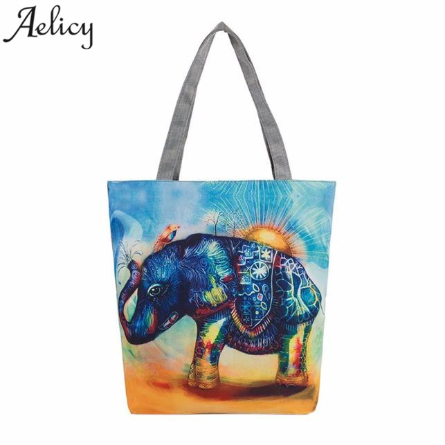 Girl Handbags Elephant Printing Canvas Tote Casual Beach Bags Shopping Bag For Women 2018 Bolsa Feminina Dropshipping HOT