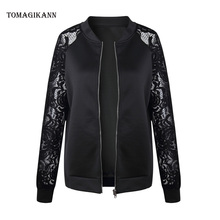 2018 Casual Hollow Out Lace Patchwork Perspective Jacket Overcoats Streetwear Stand Collar Zipper Slim Coats Tops