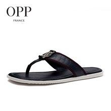 OPP 2017 Summer Men's Genuine Leather Flip Flops Shoes For men Beach Sandals Full Grain Leather Shoes Man Flip Flops Slippers