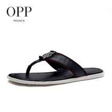 OPP 2017 Summer Men's Genuine Leather Flip Flops Shoes For men Beach Sandals Full Grain Leather Shoes Man Flip Flops Slippers