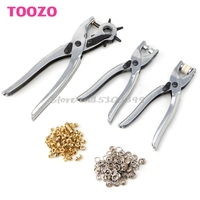 Drop Shipping 3in1 Card Leather Hole Punch Eyelet Pliers Snap Button Setter Punch Pliers Set