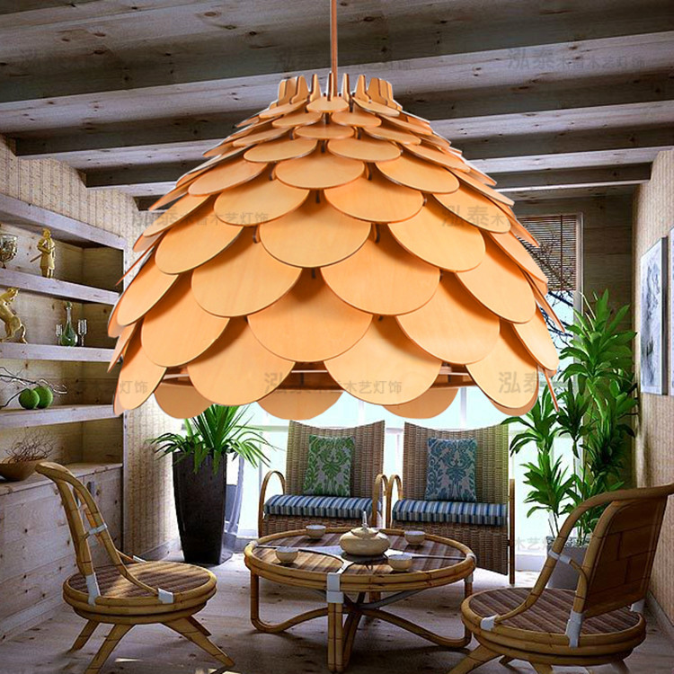 Art OAK Wood Pinecone king lamp living room dining room lighting modern minimalist hotel personality solid wooden pendant light time oak hotel