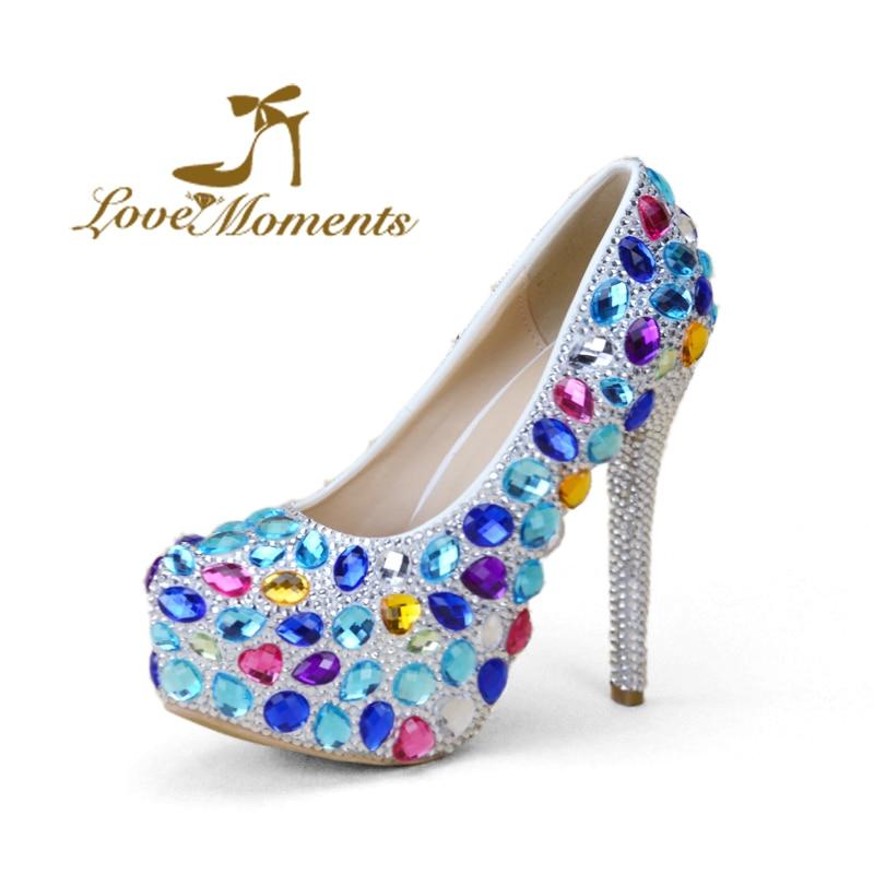 Momentos de amor plataforma casamento sapatos de cristal multicolor design de moda senhora de salto alto sapatos de Noiva sapatos de vestido de festa shoes EU35-45