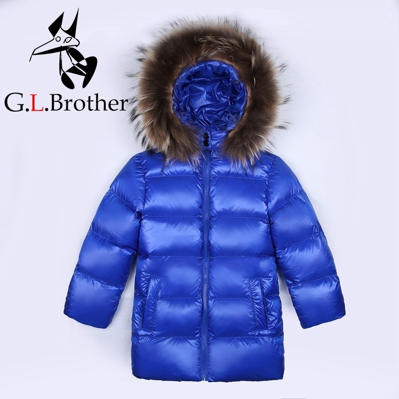 Kids Winter Coat Down Jacket Toddler Boys Jackets Thick Clothes Fur Hooded Girls Outwear Coat Parka Long Chindren Snow Wear JL33 girls winter coat 30 degree snow wear children parka coat hooded fur collar velvet clothes kids thick warm jackets for girls