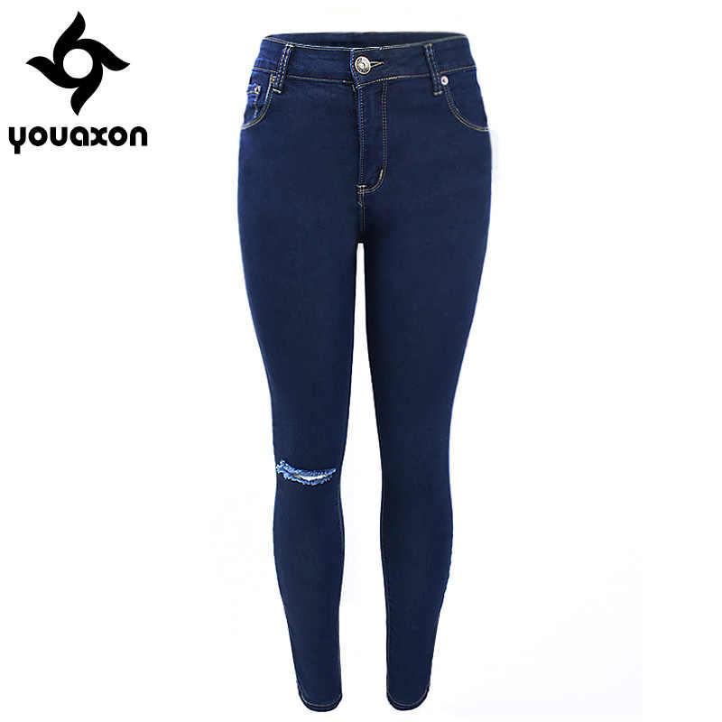 537f849f 1883 Youaxon Женская одного колена рваные темно-синий высокой талией узкие джинсовые  брюки для женщин