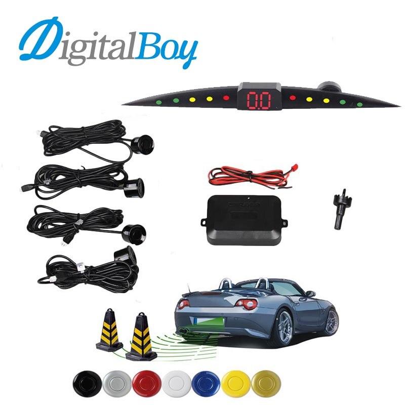imágenes para Digitalboy Sensor de Aparcamiento de Coches Auto Car Radar De Reserva Reversa Sistema de Sonda de Sonido Indicador De Alerta con 4 Sensores de Ayuda Al Aparcamiento