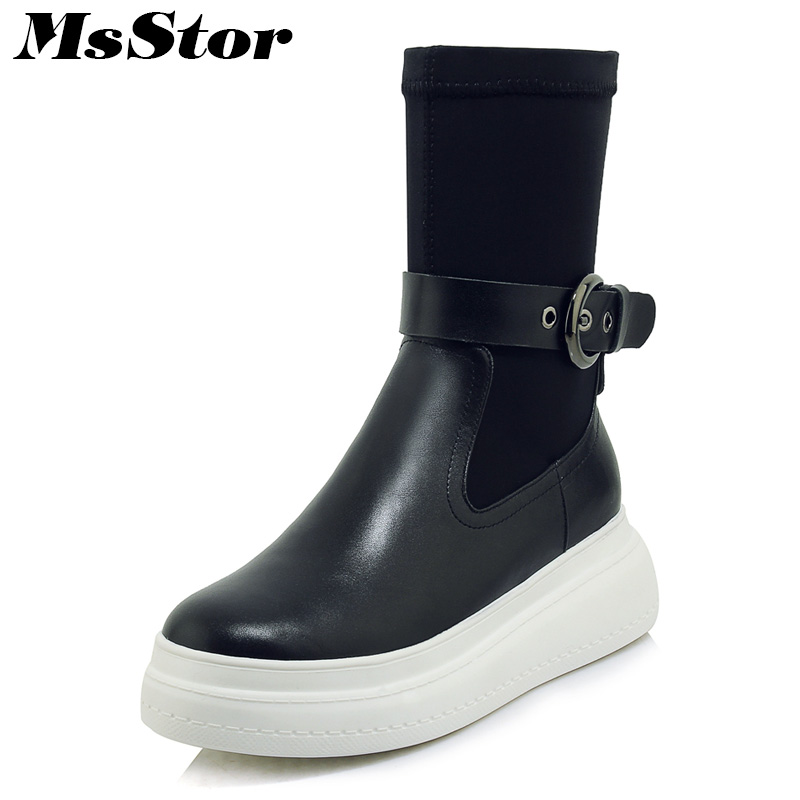 Msstor Women Boots 2018 Round Toe Thick Bottom Flat Ankle Boots Women Shoes Winter Buckle Short Plush Black Boot Shoes For Girl msstor women boots round toe wedges ankle boots women winter shoes thick bottom lace up short plush black boot shoes for woman