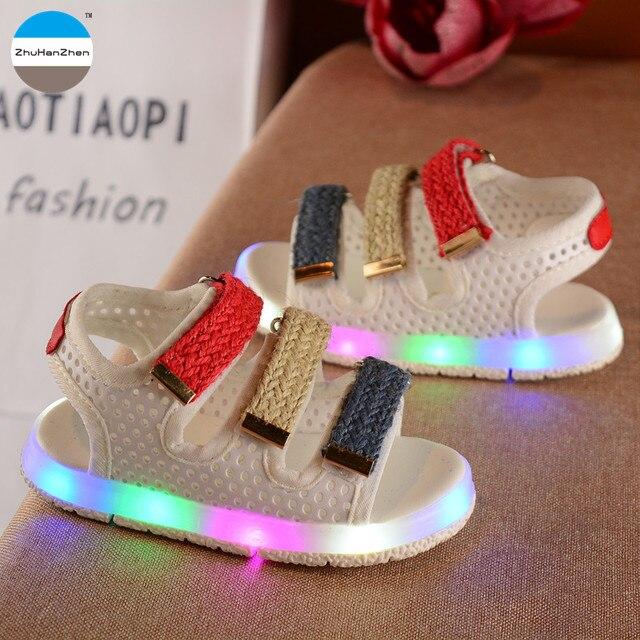 2017 lampu LED anak sandal bayi laki-laki dan perempuan bernapas sepatu  glowing sneakers kualitas 187a3fb73c