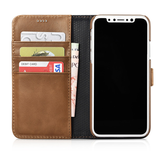 6863cc11632f ICARER Genuine Leather Detachable 2 in 1 Wallet Folio Case for IPhone X  Magnetic Strap Flip Cover
