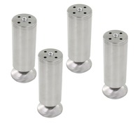 4pcs 180mm Height Furniture Legs Adjustable 10 15mm Cabinet Foot Silver Tone Stainless Steel Table Bed
