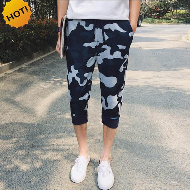 Moda 2016 Camuflaje Cintura Elástica Estiramiento camo Tobillo Anillados Coropped Pantalones Hombres Pantalones Harem Capri Pantalones Estudiantes militares