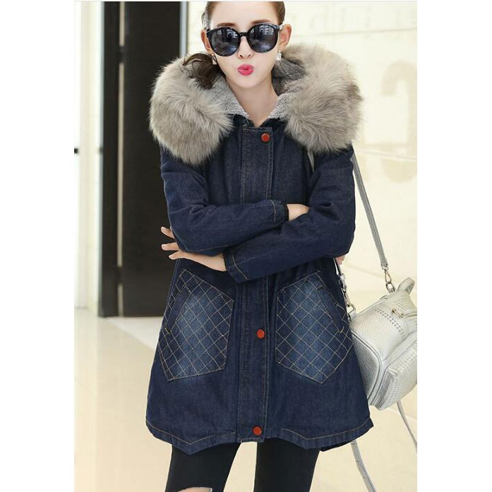Winter Fur Collar Cowboy Parka Faux Lamb Wool Warm Denim Jacket Coat Mid Long Thick Womens Jeans Parkas цены онлайн