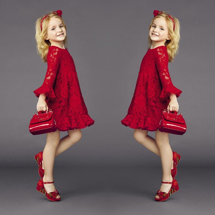 2015 Teenage Summer New Arrivals Girls Red Lace Formal Dress Dresses