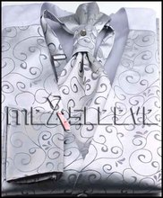 new arrival silver floral  formal wear high quality waistcoat (vest+ascot tie+cufflinks+handkerchief)