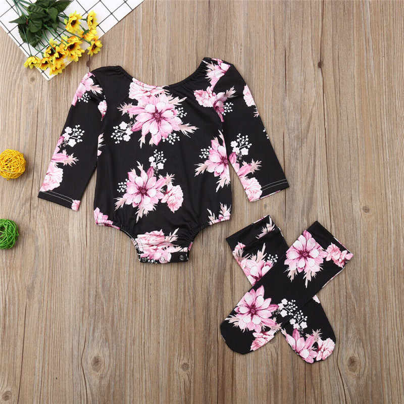 3-24M Toddler Baby Girl Flower Print Romper Jumpsuit+Leg Warmer Outfits Clothes