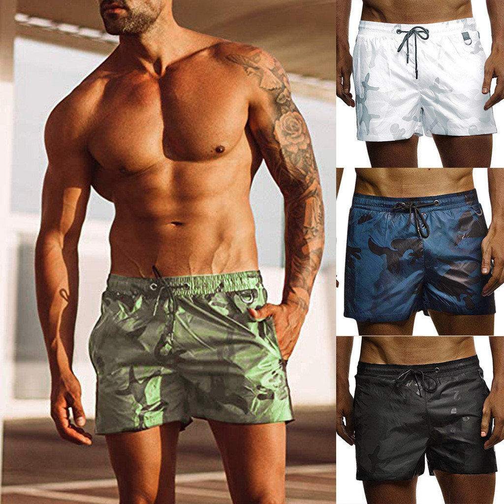 Men's Shorts Sports Camouflage Jogging Elasticated Beach Wear Mid Waist Drawstring Short Boardshorts Fashion Brand