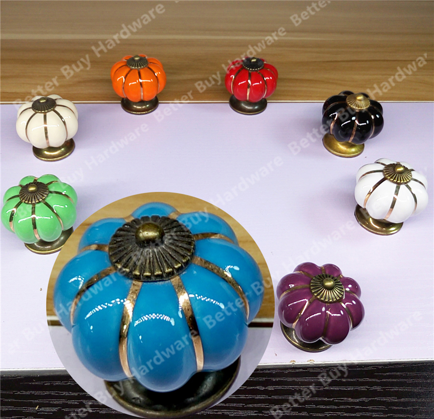 10pcs Kitchen Furniture pull Pumpkin shape Pastoralism ceramic knob various color Single Hole knobdrawer knob Dia.40mm pastoralism pumpkin ceramic knob kitchen ceramic door cabinets cupboard knob and handles 1pcs