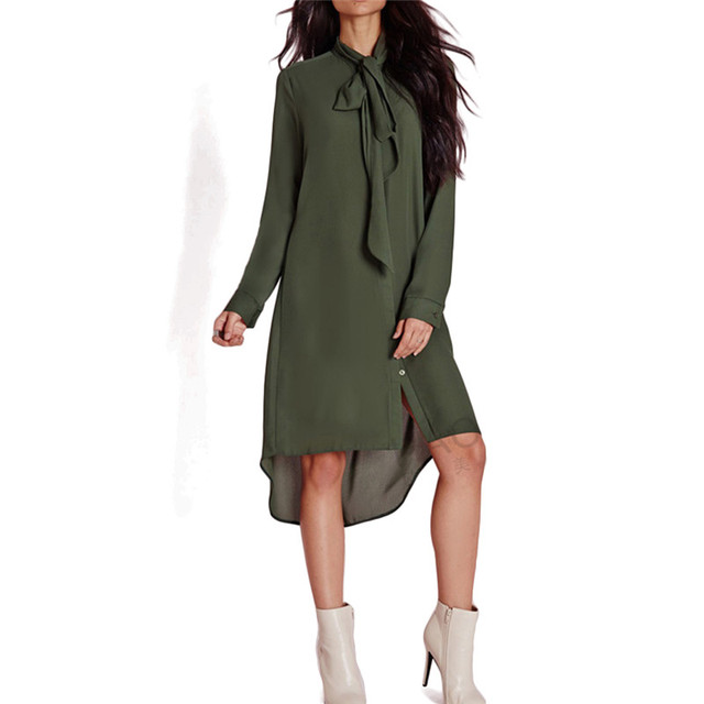 25ffd3e691c6d7 Women army green neck tie long shirts stand collar long sleeve loose blouses  ladies fashion casual bow tie tops