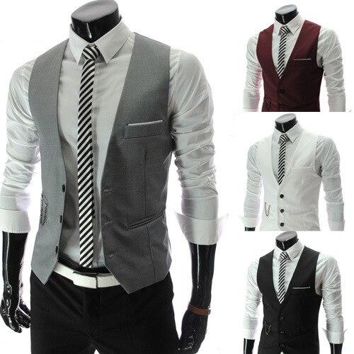 Fashion 2016 Mens Black White Light Grey Business Slim Fit Dress Vest Suit Formal Men Waistcoat Wedding Chaleco Hombre M-XXXL